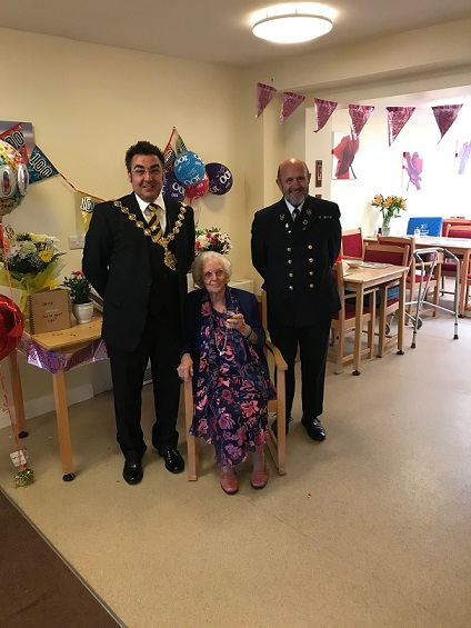 Mayor and Town Sergeant with Doris at her 100th Birthday