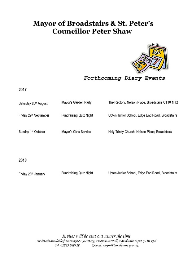 Town Mayors Forthcoming Events