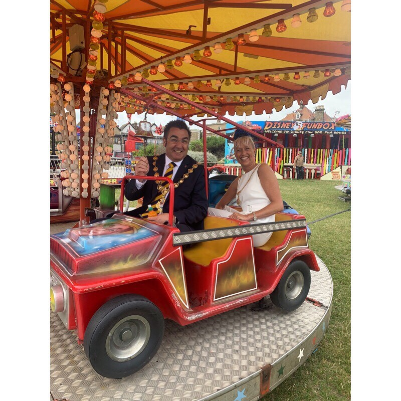 Mayor and Mayoress on a carousel