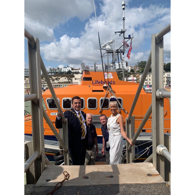 Mayor and Mayoress on a lifeboat